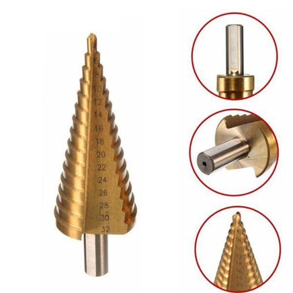 Hss Step Cone 4-32mm Taper Drill Metal Plastic Hole Cutter Metric Hex Shank Titanium